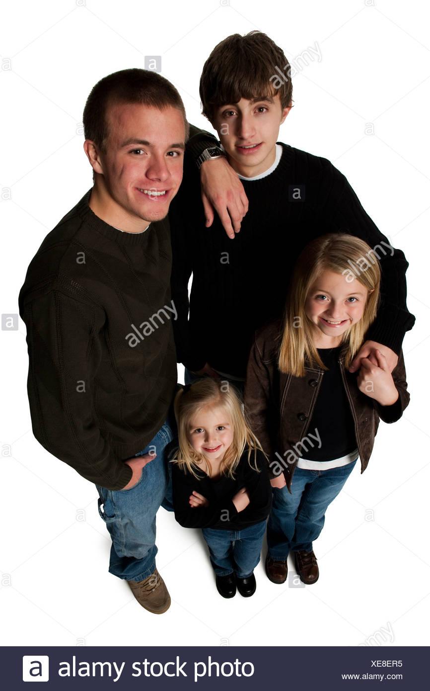 Family posing for portrait - Stock Image