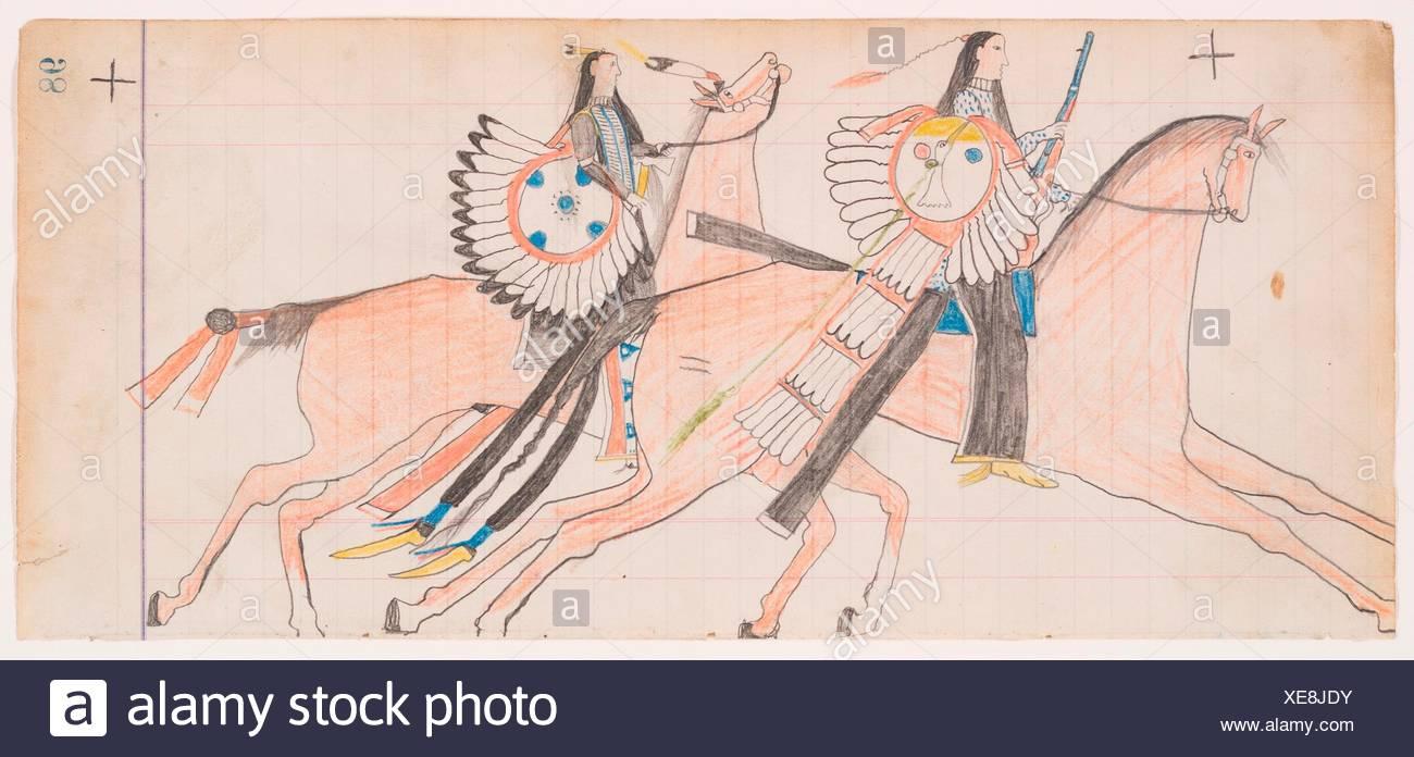 Off to War (Henderson Ledger Artist B). Artist: Frank Henderson (Native American, Hinono'eiteen (Arapaho), 1862-1885); Date: ca. 1882; Geography: - Stock Image