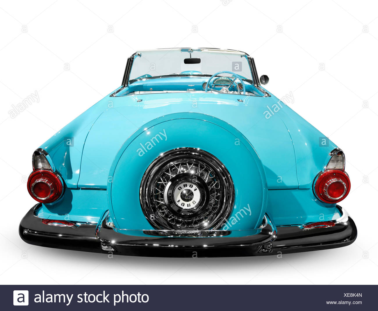 Blue 1956 Ford Thunderbird convertible - Stock Image