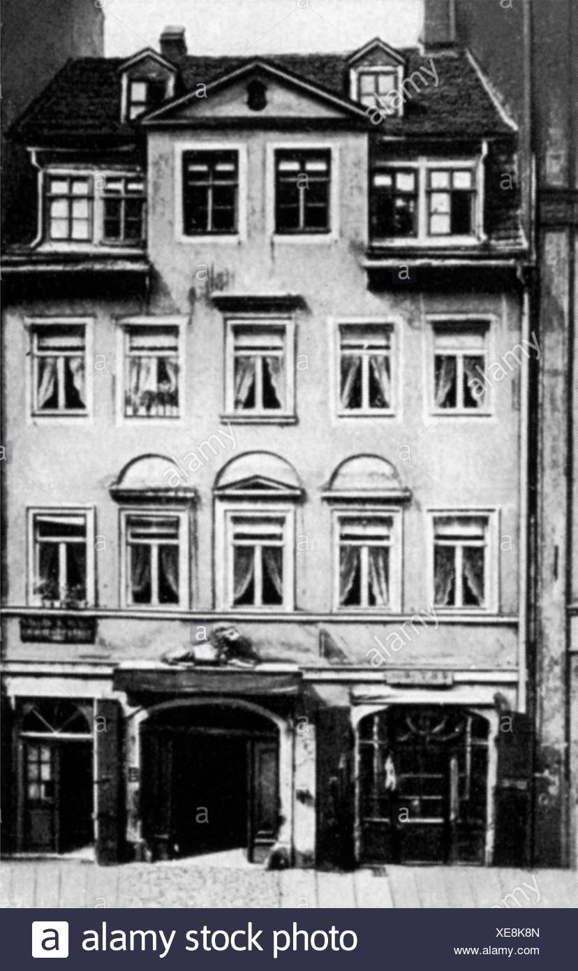 Wagner, Richard, 22.5.1813 - 13.2.1883, German composer, birthplace, Brühl 3, Leipzig, before 1886, Additional-Rights-Clearances-NA - Stock Image
