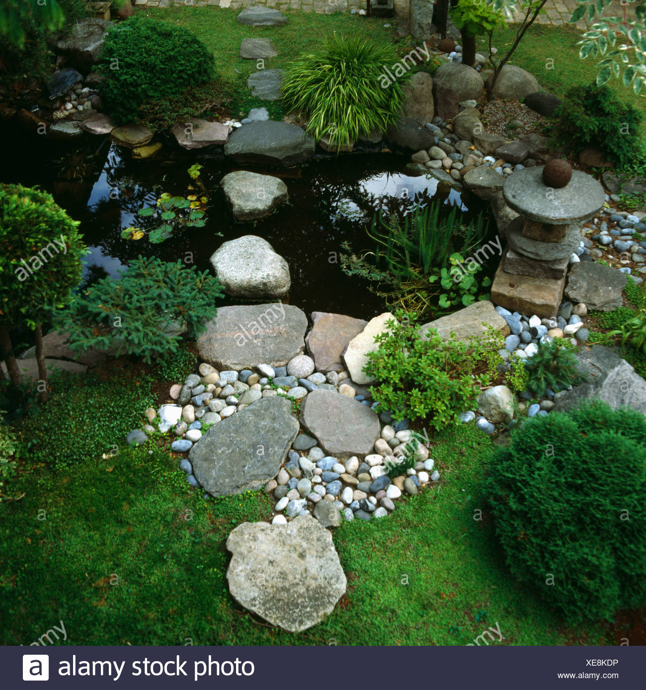 Wildlife Pond Surrounded By Pebbles: Pond Pebbles Stock Photos & Pond Pebbles Stock Images