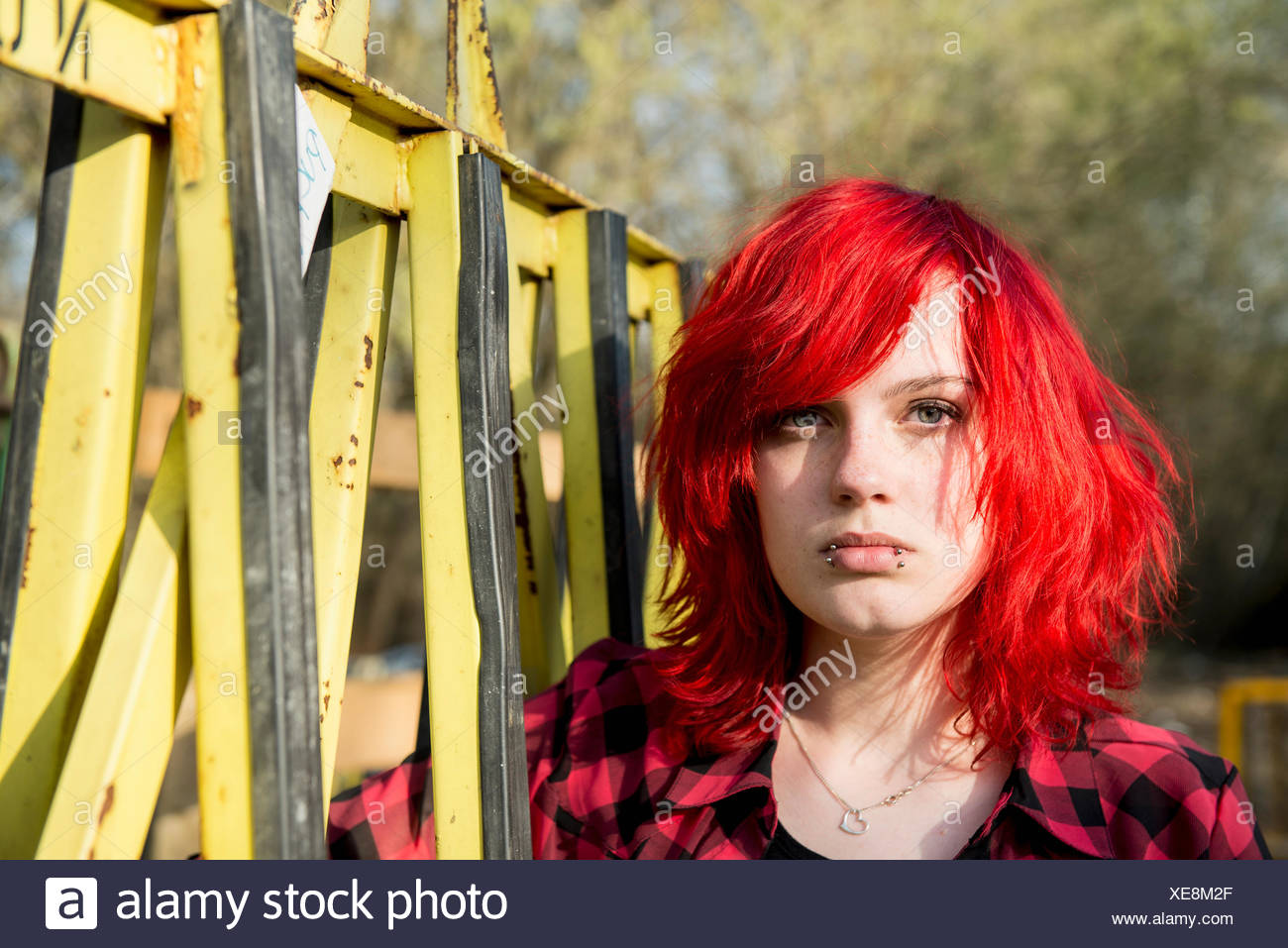 Angry young teenage defiant Punk girl portrait Stock Photo