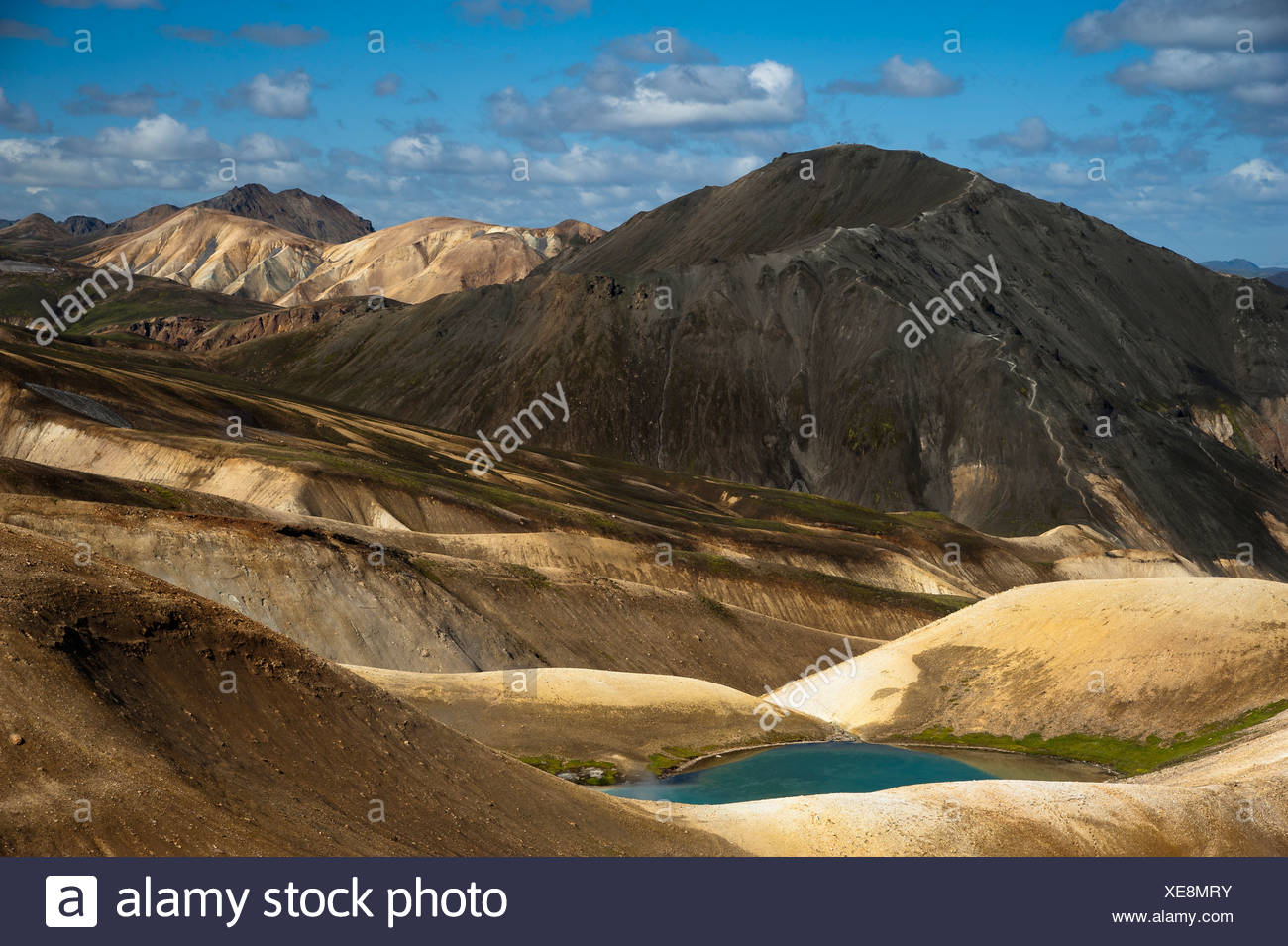 Bláhnúkur Volcan and Rhyolite Mountains along the Laugavegur hiking trail, Landmannalaugar-Hrafntinnusker - Stock Image