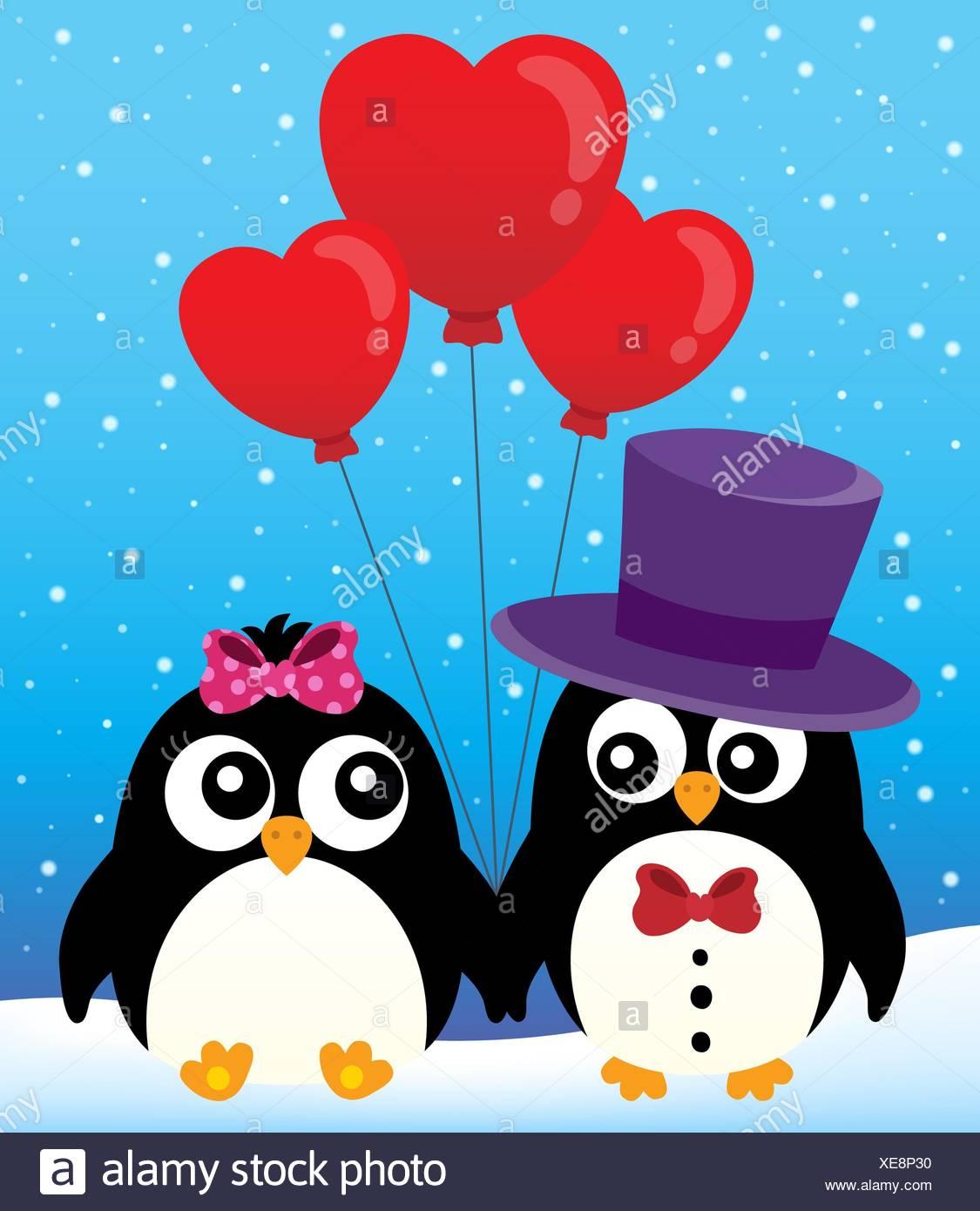 Valentine penguins theme image 2 - Stock Image