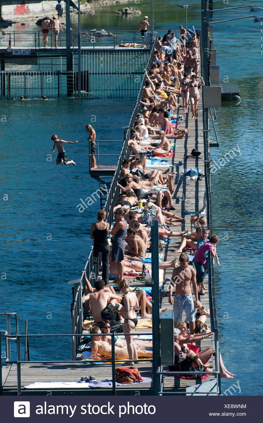 Zurich, Switzerland, the Flussbad Unterer Letten in the Limmat - Stock Image