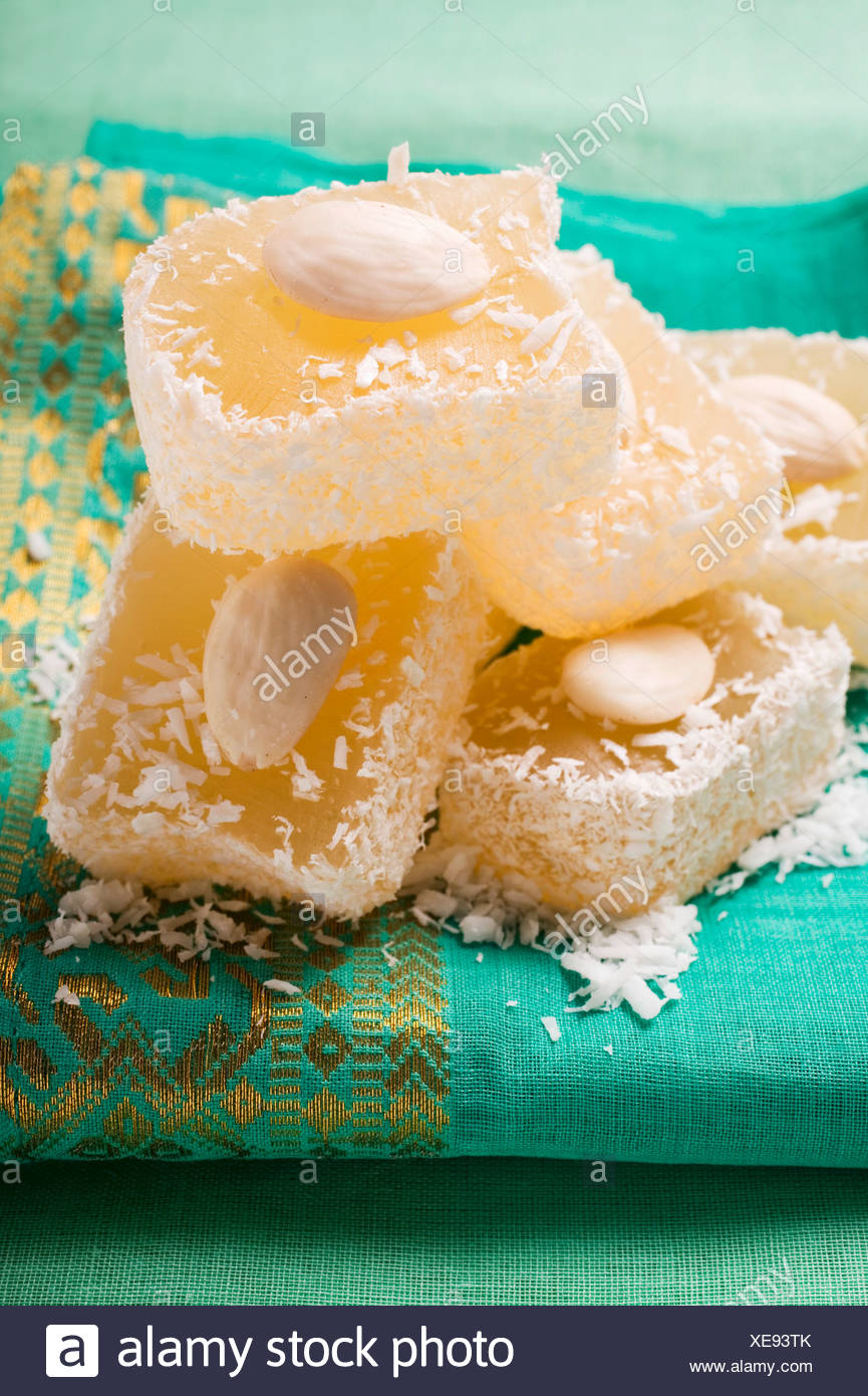 Turkish Delight with almonds and coconut - Stock Image
