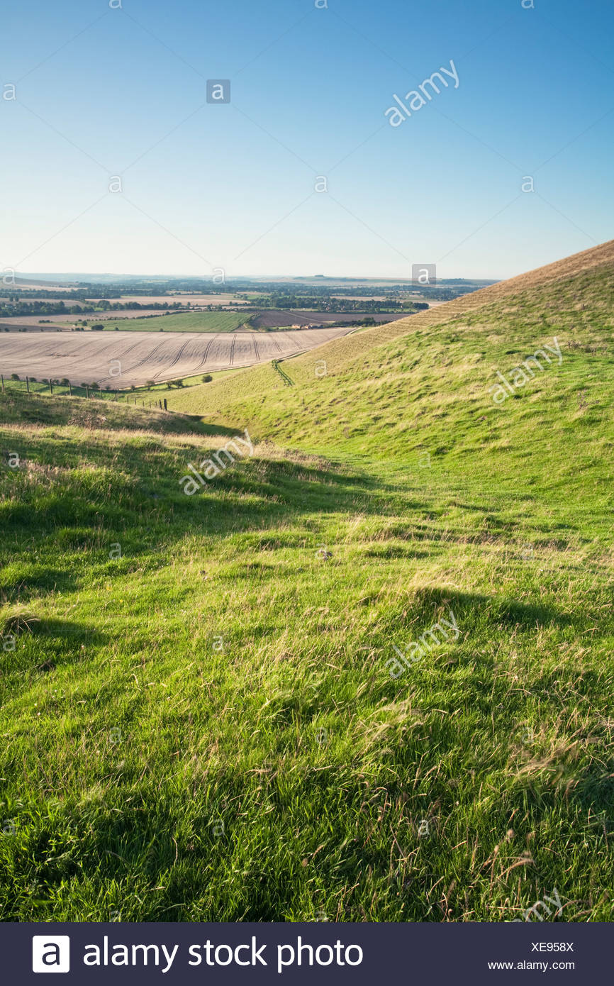 View of Valley below Pewsey Hills from the footpath to Tan Hill, Wiltshire, Uk - Stock Image