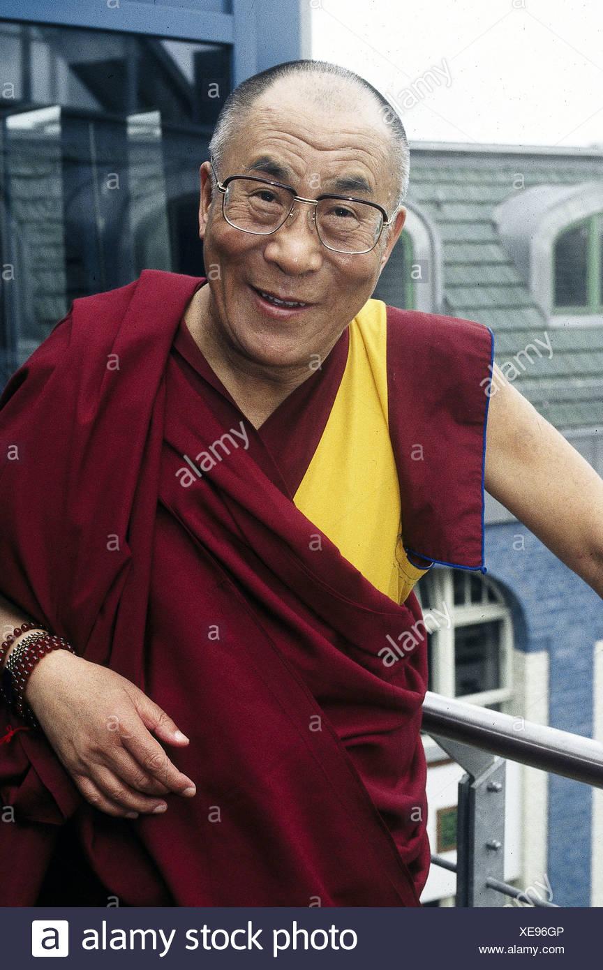 Dalai Lama 14th (Tenzin Gyatso), * 6.7.1935, Tibetan lama and politician, half length, during a visit to Germany, 2000, Additional-Rights-Clearances-NA - Stock Image