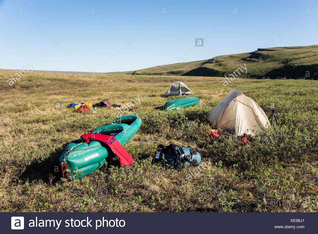 campsite, camping, expedition, national petroleum reserve, petroleum reserve, Alaska, USA, America, reserve, Alaska, USA, Americ - Stock Image
