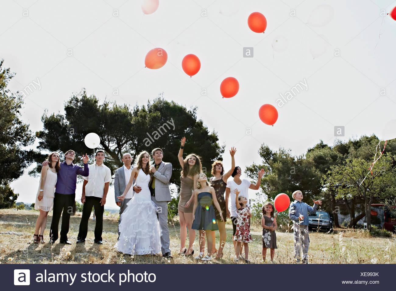 Wedding Guests With Balloons, Croatia, Dalmatia - Stock Image