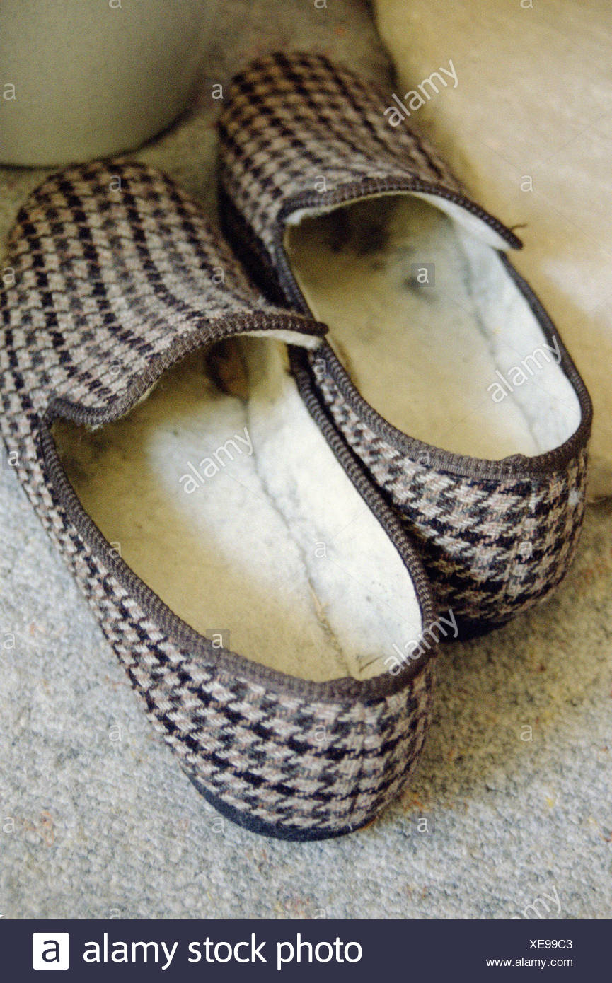 Checked slippers - Stock Image