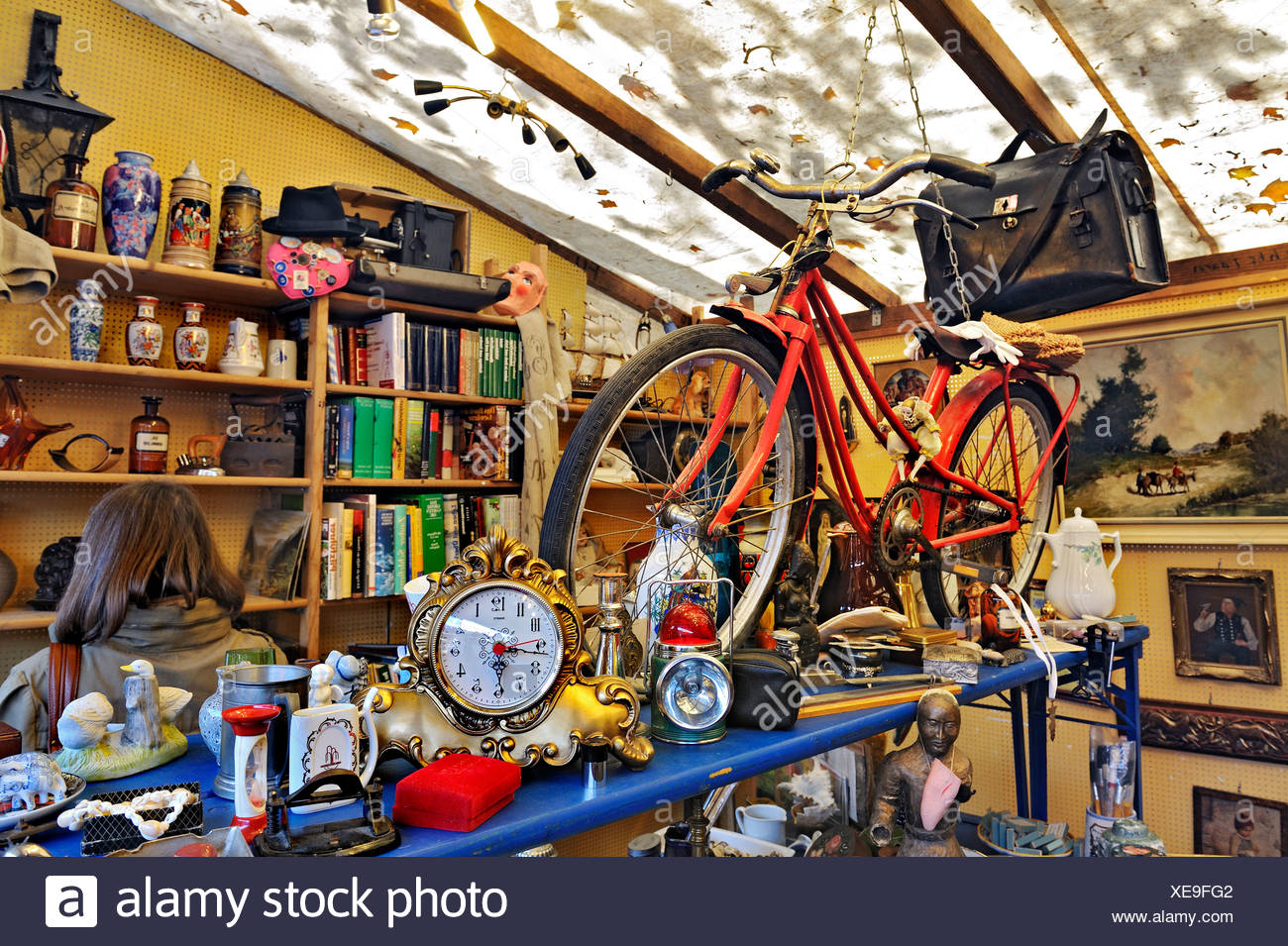 Bicycle and junk, Auer Dult market, Munich, Bavaria, Germany, Europe - Stock Image