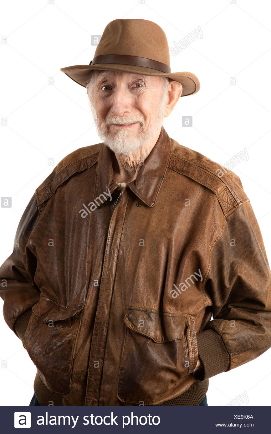 Adventurer or archaeologist in brown leather jacket - Stock Image