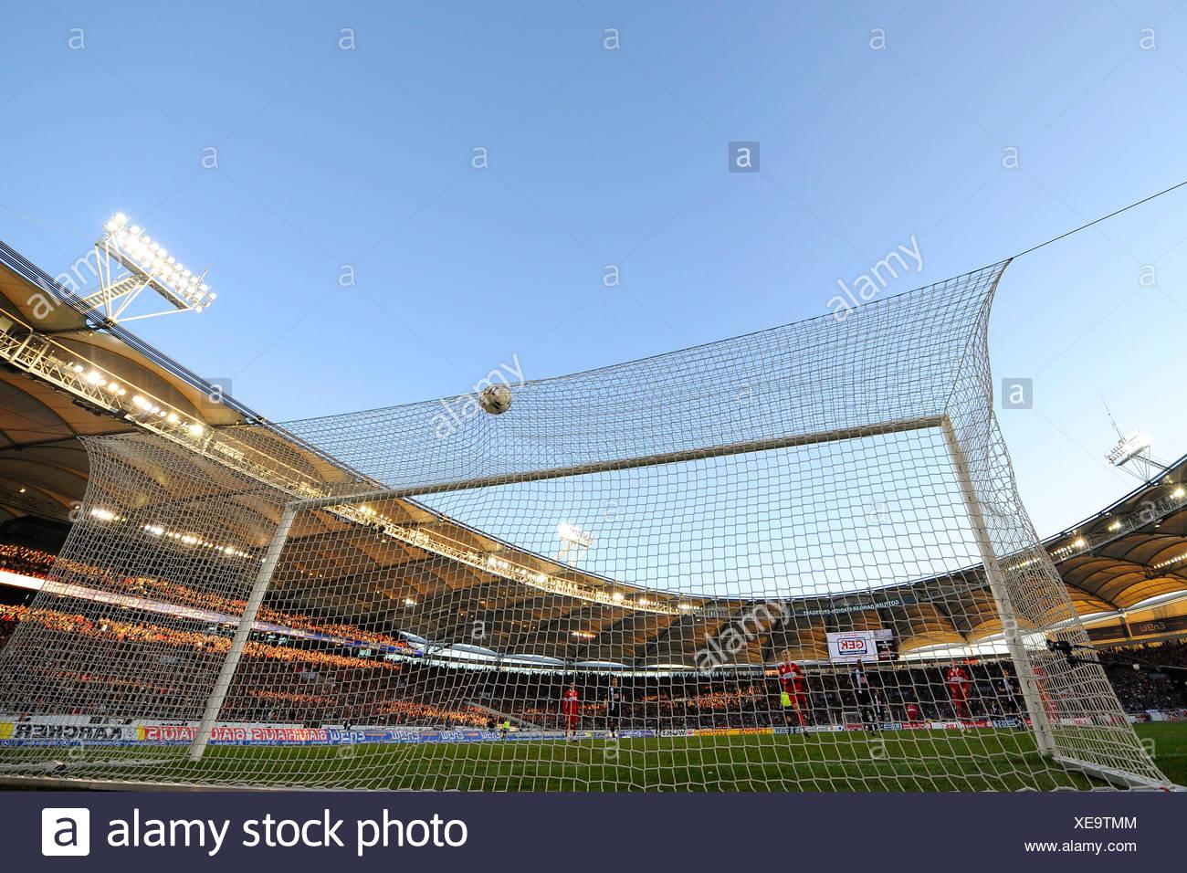 Ball in goal Gottlieb-Daimler-Stadion (arena) Stuttgart Baden-Wuerttemberg Germany - Stock Image