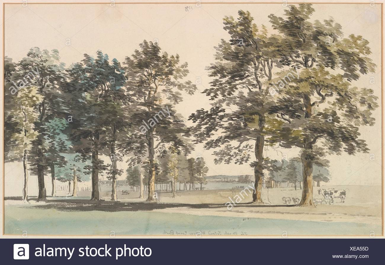The Moat Island, Windsor Great Park. Artist: Thomas Sandby (British, baptized Nottingham 1723-1798 Windsor); Date: 1754-55 (?); Medium: Watercolor, Stock Photo
