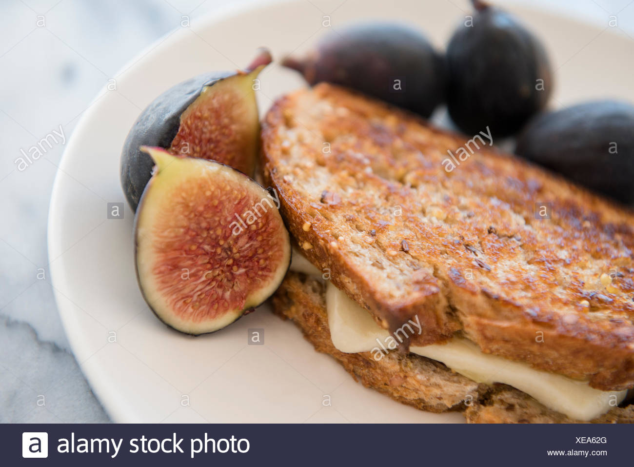 Grilled cheese sandwich with figs on plate - Stock Image