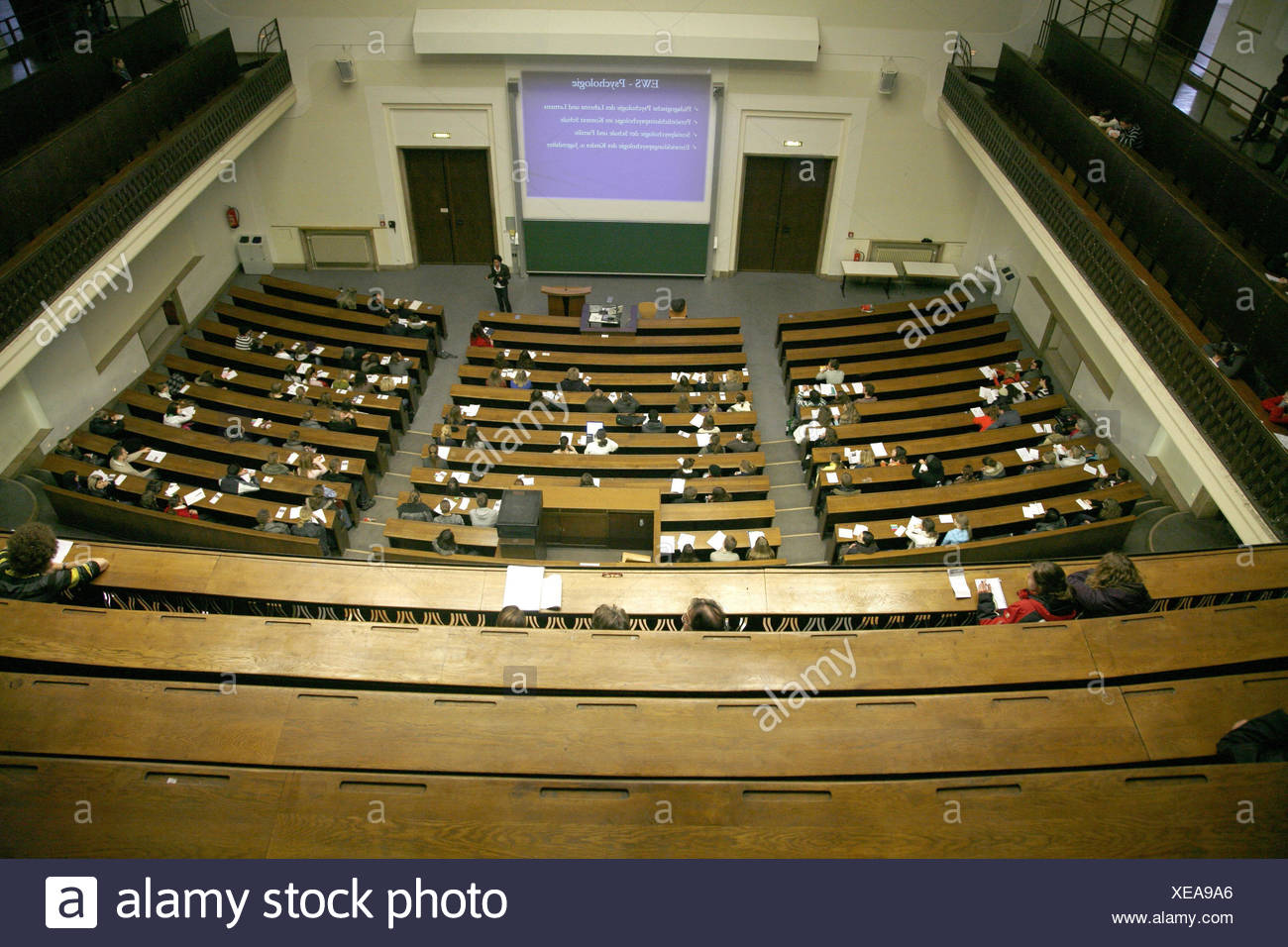 University, auditorium, lecture, student, from above, no model release, Germany, Bavarians, Munich, LMU, inside, main lecture hall, Ludwig's Maximilian university, talk, lecturer, person, saddles, rows, projection, education, education, study, educational chance, university education, science, future chance, - Stock Image