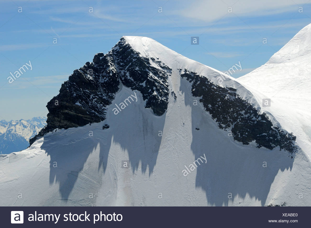 Rocky peak at the summit of the Grand Combin, Valais, Switzerland, Europe - Stock Image