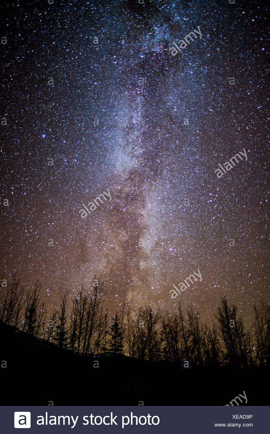 View Of The Milky Way On A Dark Night Near Wiseman, Arctic Alaska - Stock Image