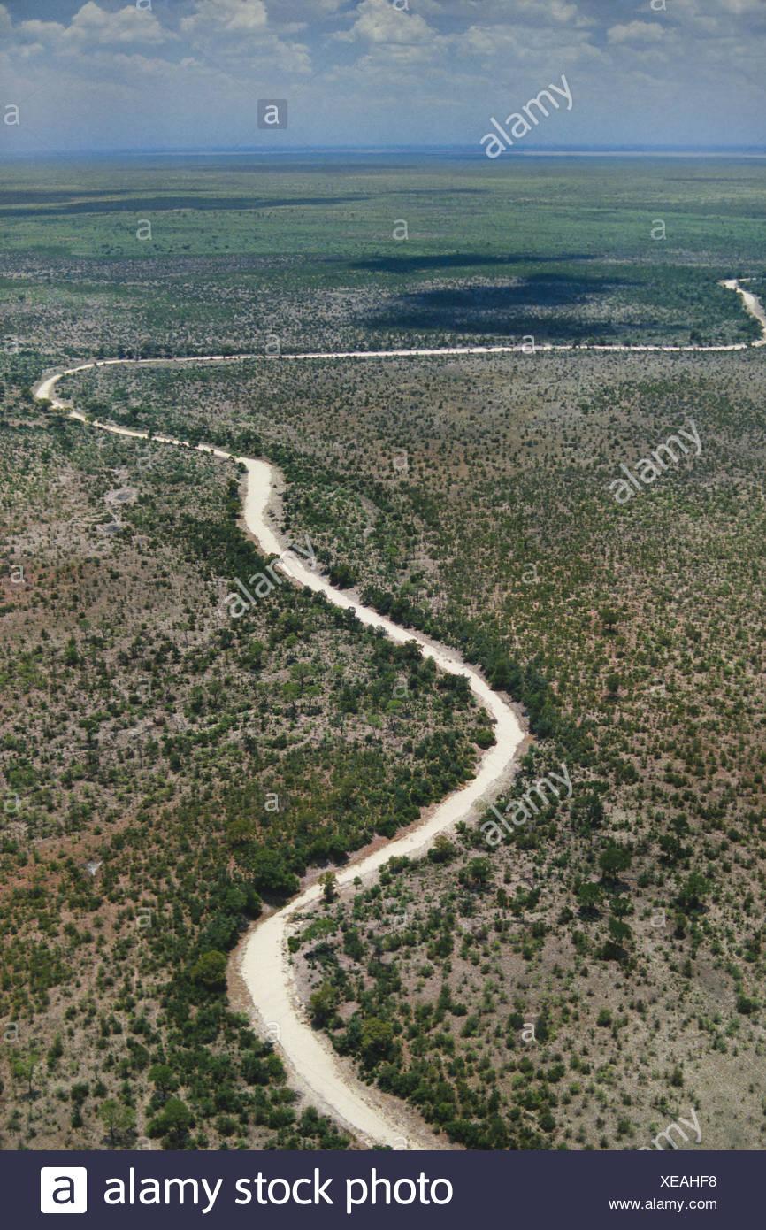 Makgadikgadi Pans Botswana Dry river bed aerial Makgadikgadi Pans Botswana Stock Photo