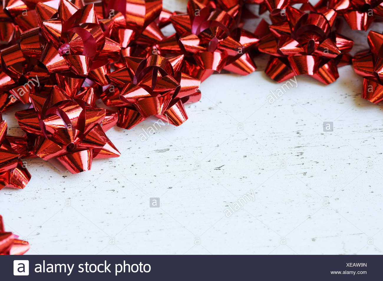 Red Bows with Copy Space - Stock Image