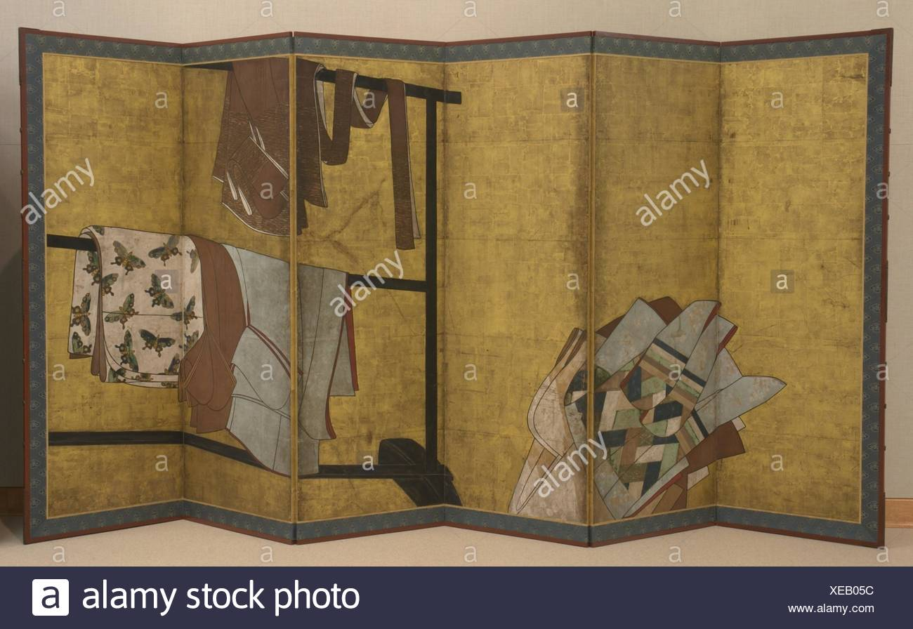 Whose Sleeves? (Tagasode). Period: Edo period (1615-1868); Date: 17th century; Culture: Japan; Medium: Six-panel folding screen; ink, color, and gold Stock Photo