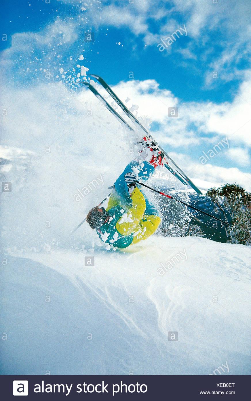Man snow skiing. Somersaulting. Australia. Stock Photo