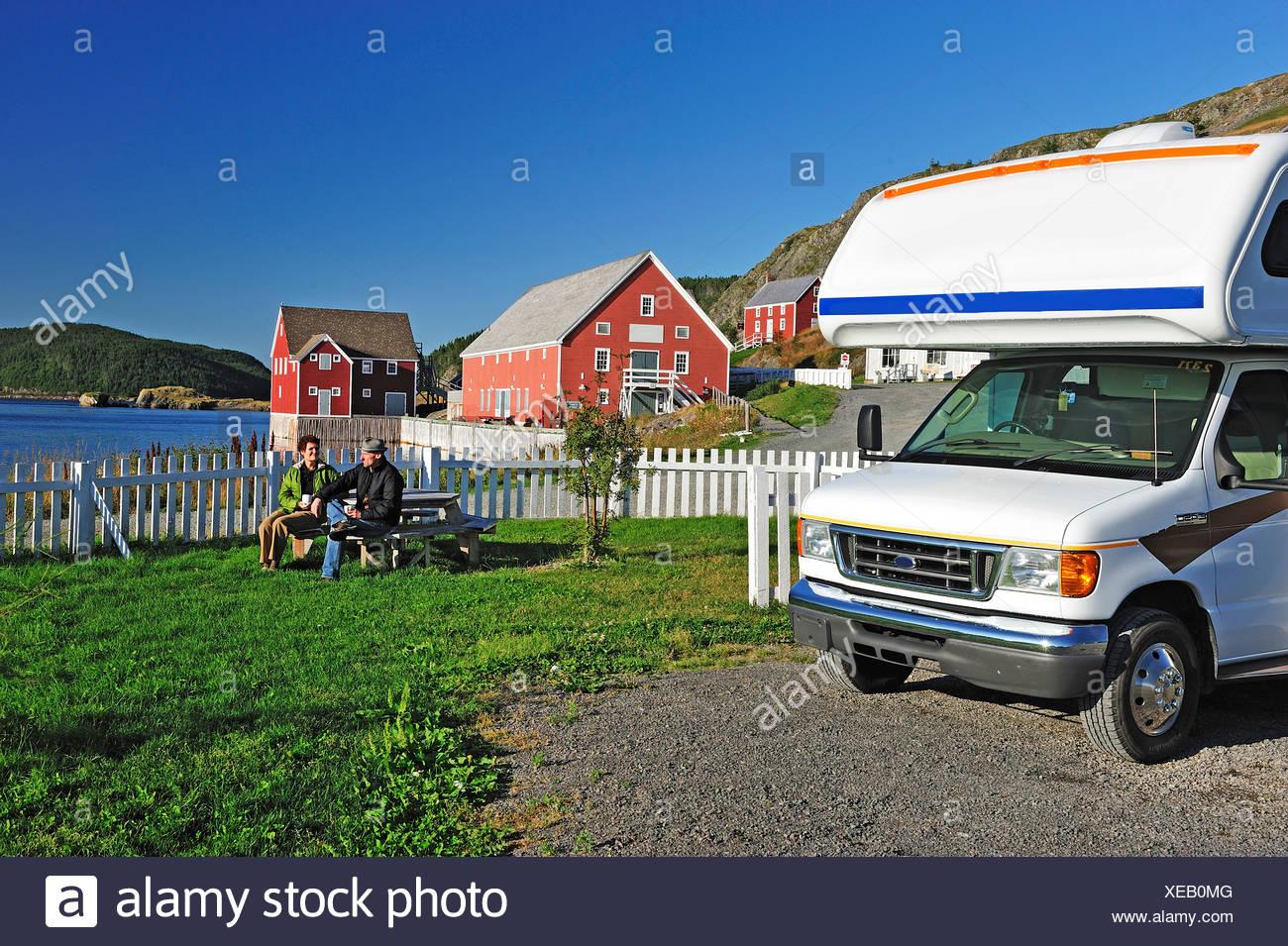 couple, man, woman, Motorhome, RV, Camper, Trinity, Newfoundland, Canada - Stock Image