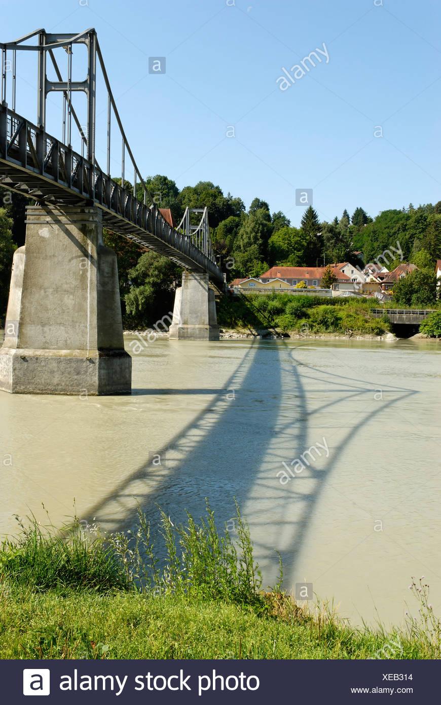 Passau Lower Bavaria Germany Fuenferlbridge across the river Inn Stock Photo