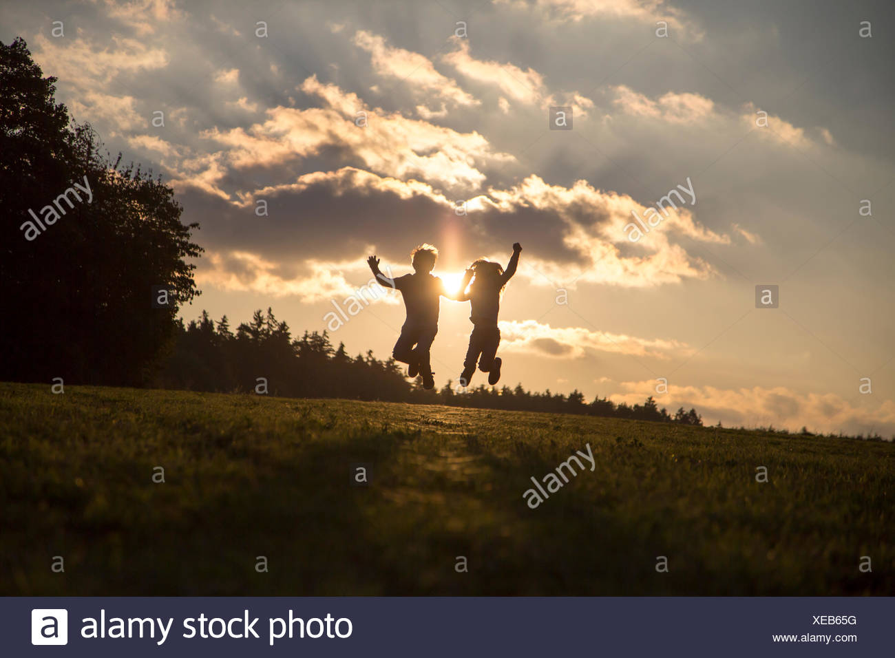 Silhouettes of two children jumping side by side on a meadow at backlight Stock Photo
