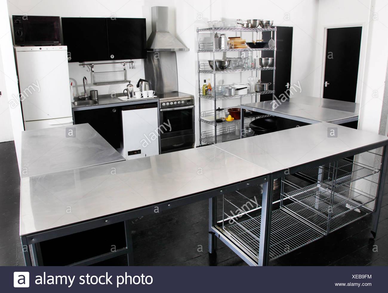 Stainless Steel Kitchen Worktop Stock Photos & Stainless Steel ...