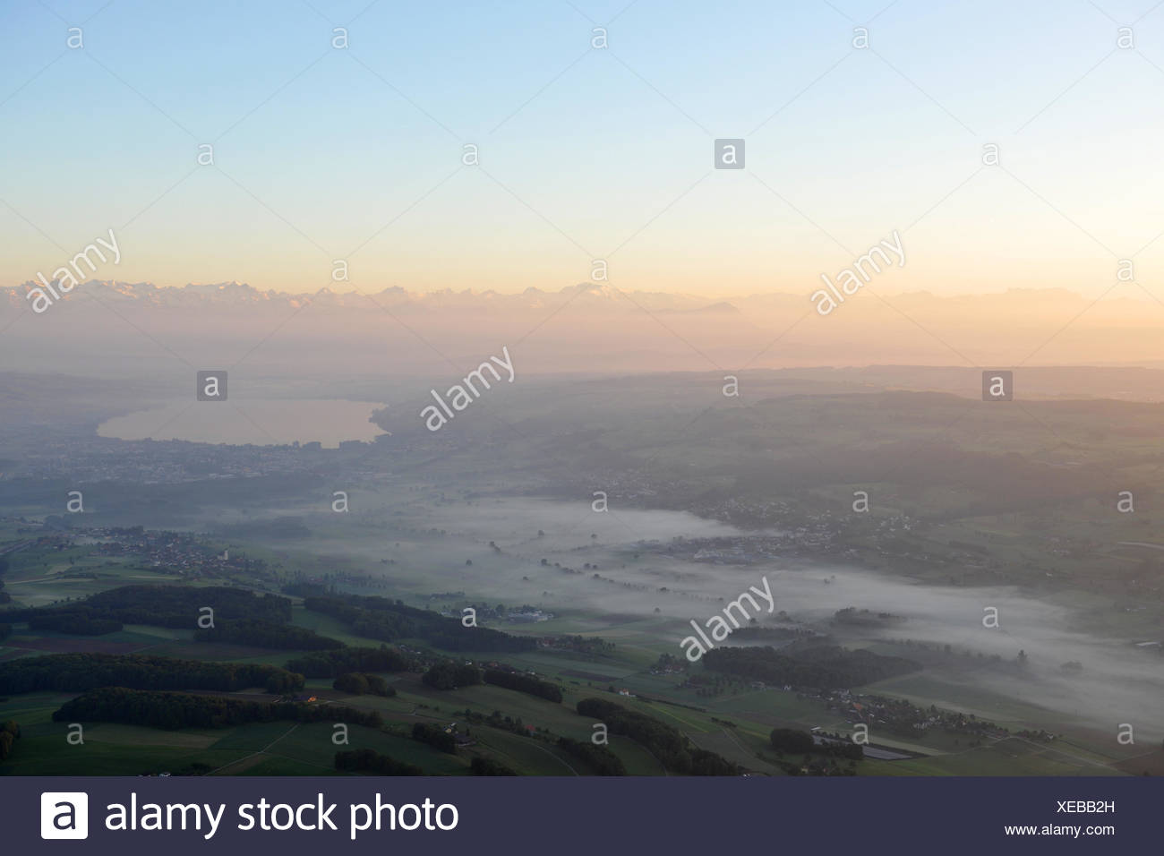 arial picture of hot air baloon - Stock Image