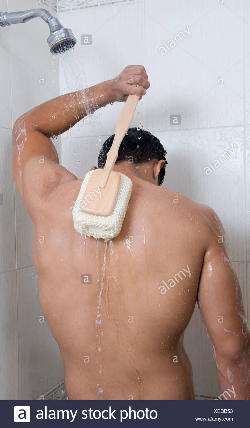 Scrubbing Back Man Bathing