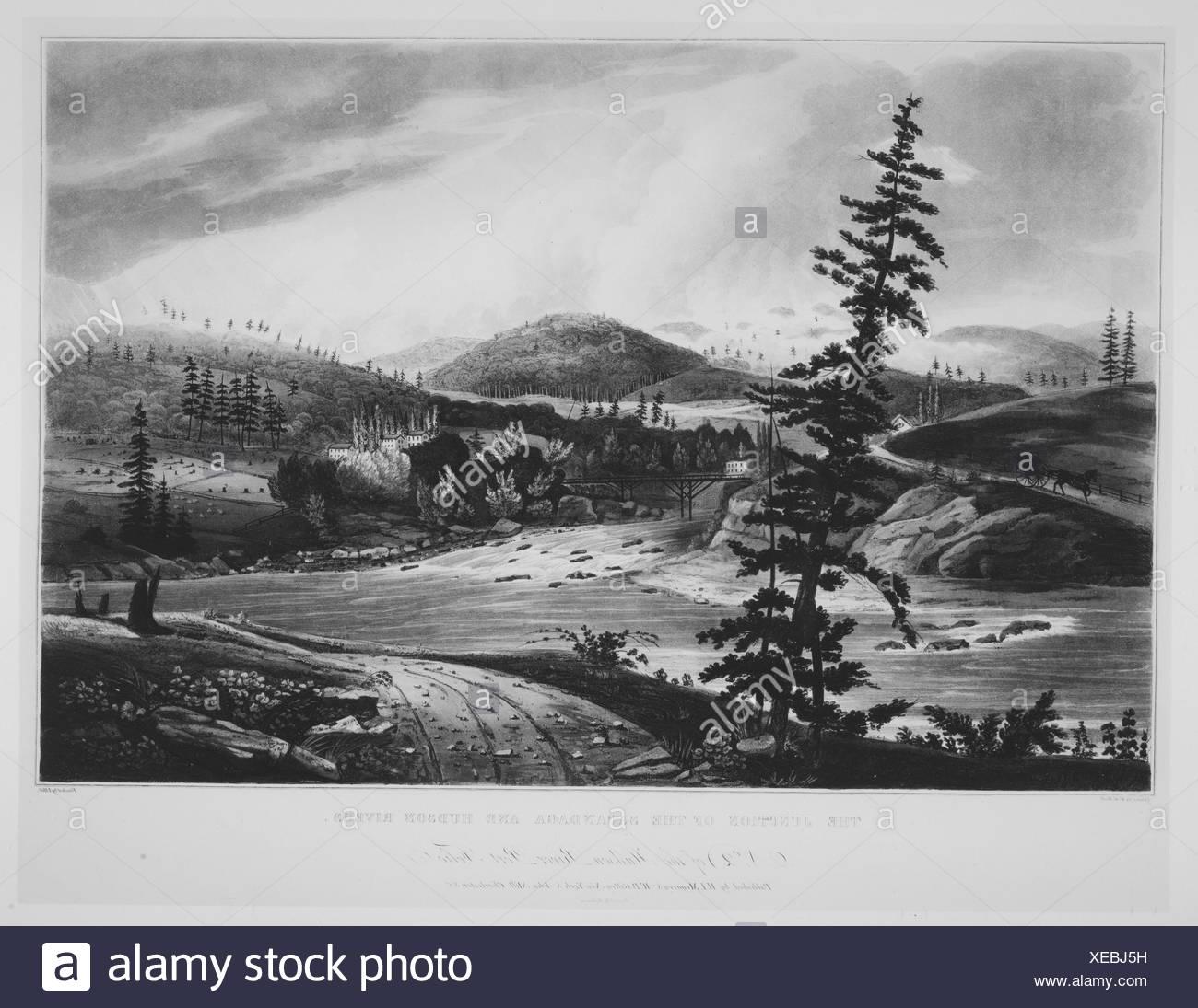 Junction of the Sacandaga and Hudson Rivers (No. 2 of The Hudson River Portfolio). Series/Portfolio: The Hudson River Portfolio; Etcher: John Hill - Stock Image