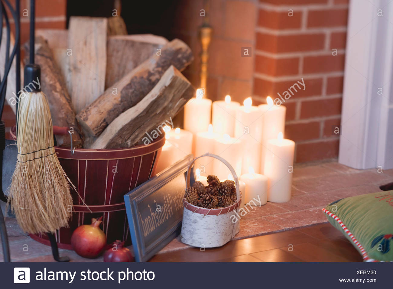 Christmas Decorations In Front Of Fireplace Stock Photo 284228308