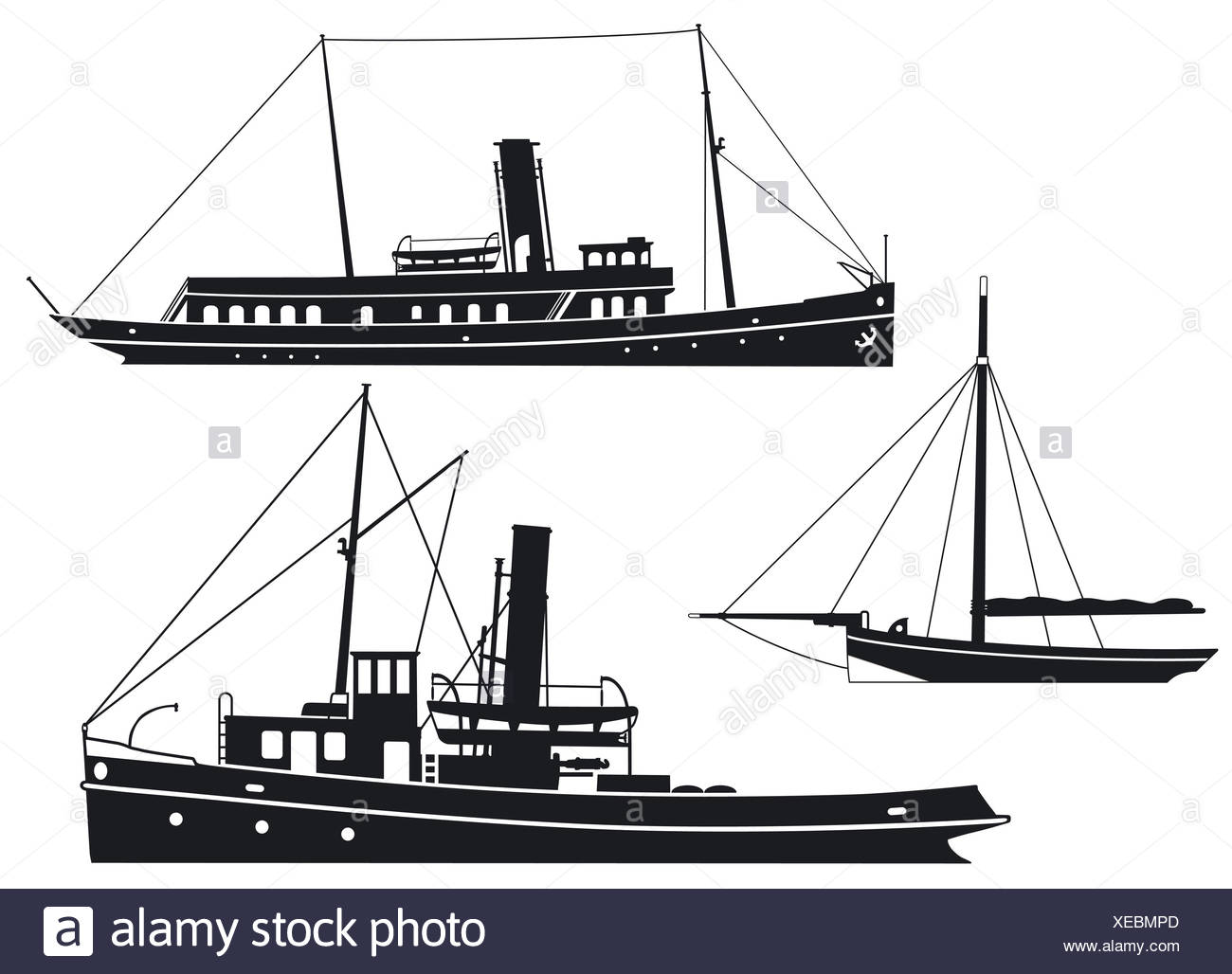 Steam ships and boats Stock Photo