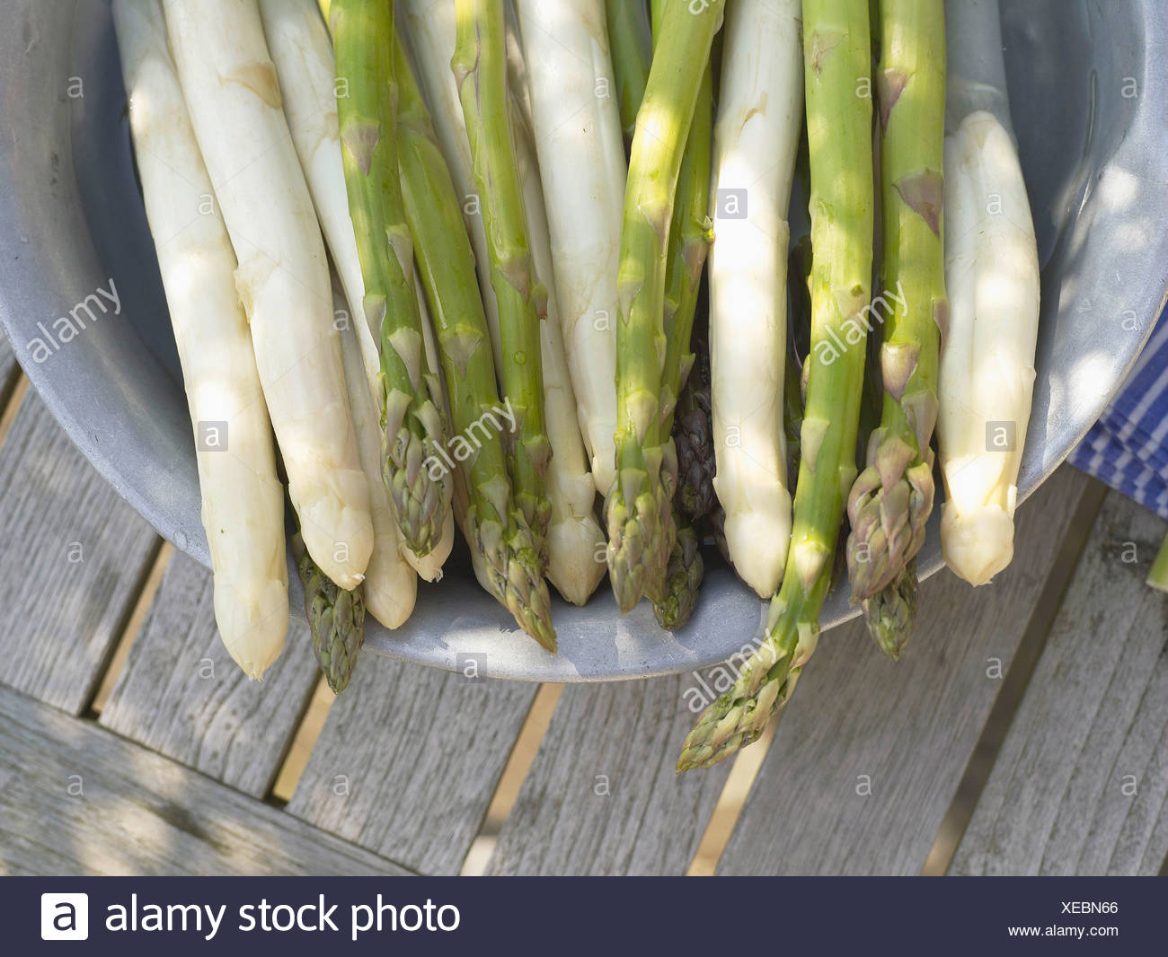 Green asparagus in container - Stock Image