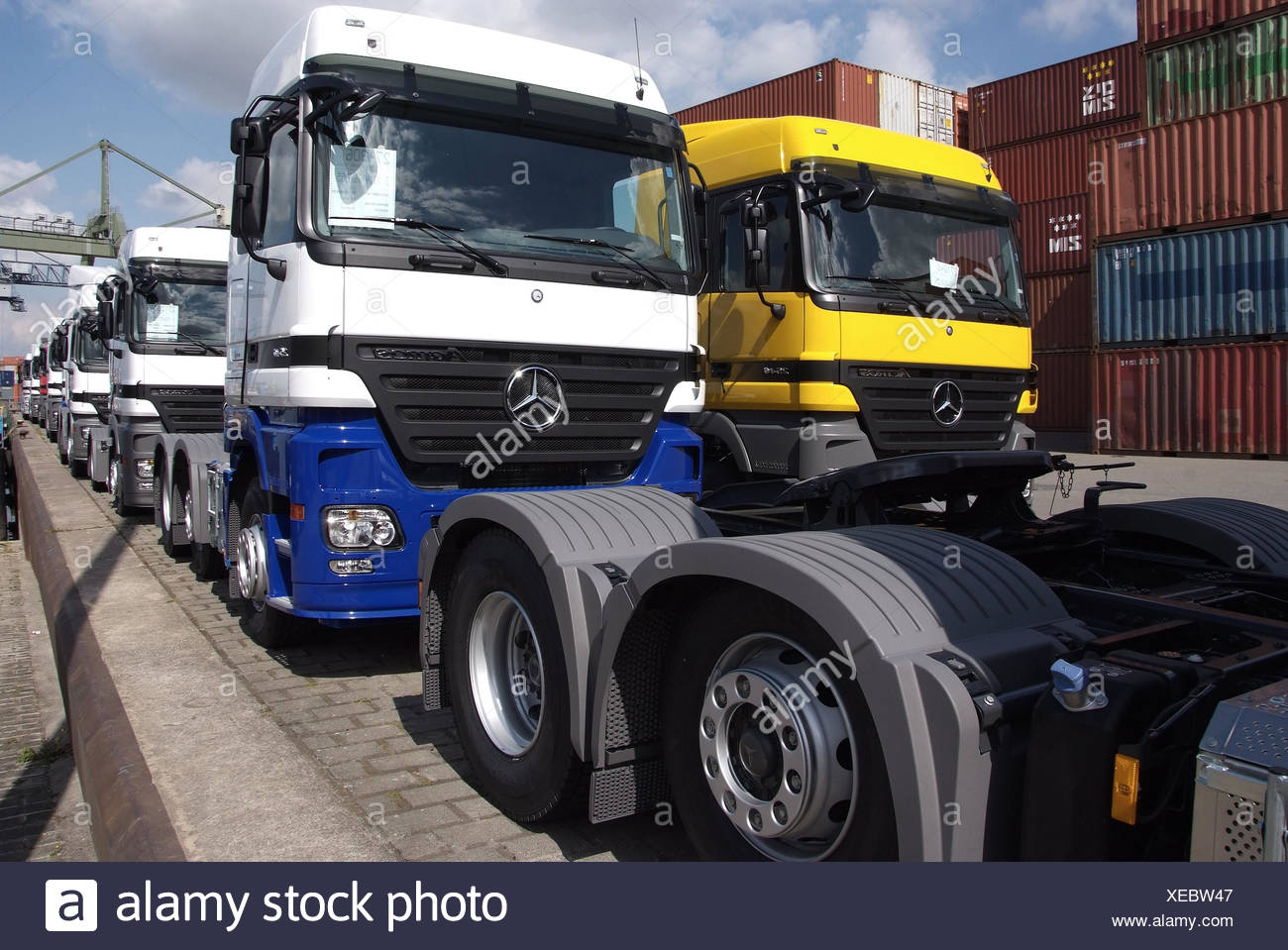 Inland harbour, navigation, truck loading, - Stock Image