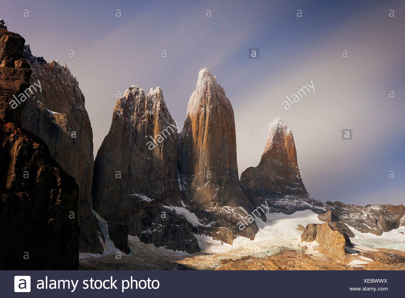 Moonlight over the Torres del Paine, Torres del Paine National Park, Patagonia, Chile, South America - Stock Image