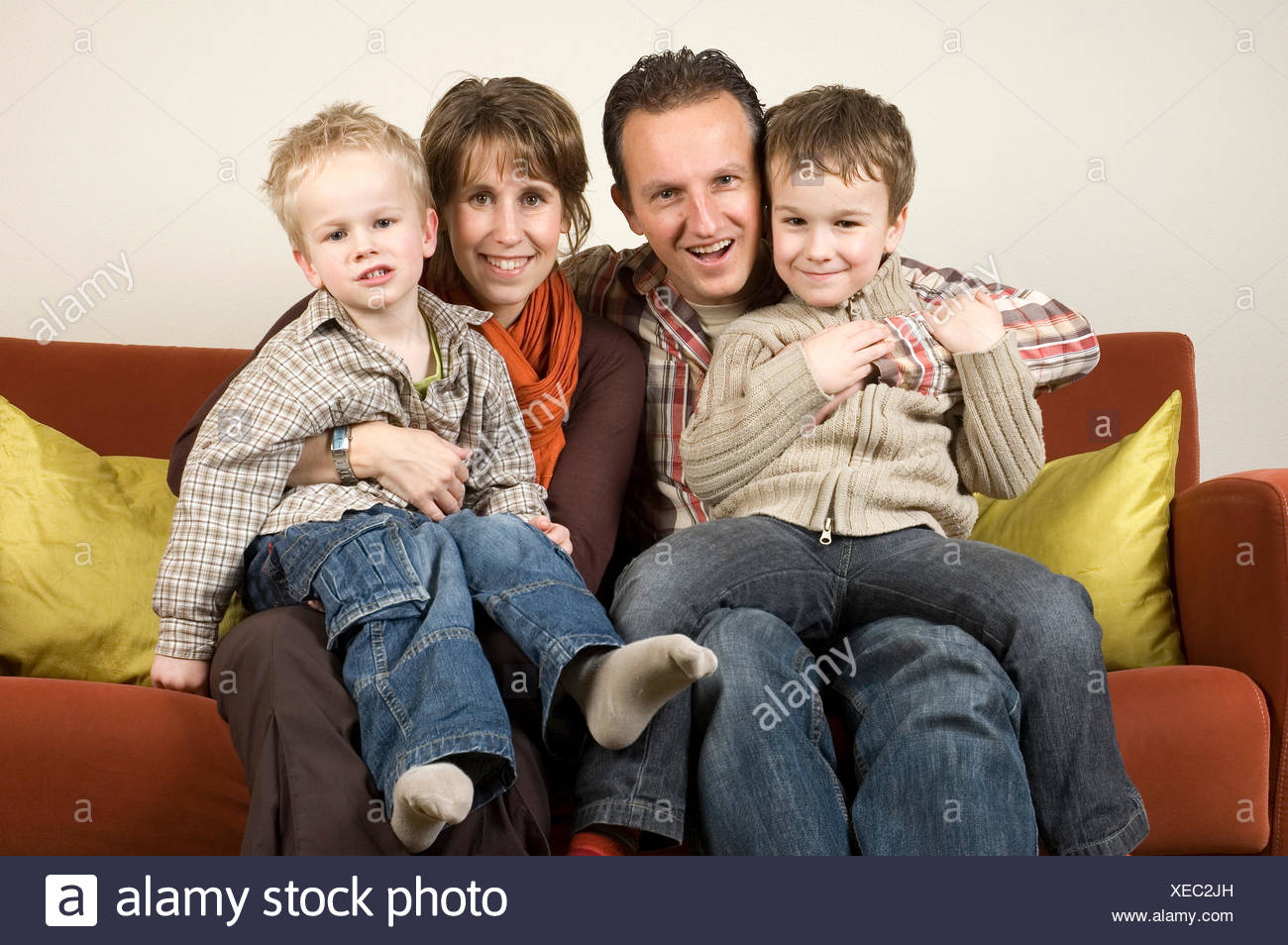 Family On A Couch 2 - Stock Image