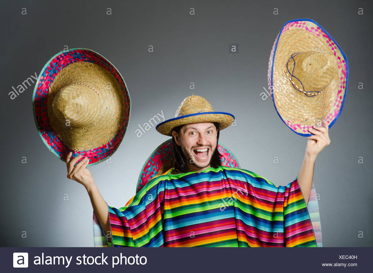 Funny Mexican Wearing Sombrero Hat Stock Photos   Funny Mexican ... b18e461aac5