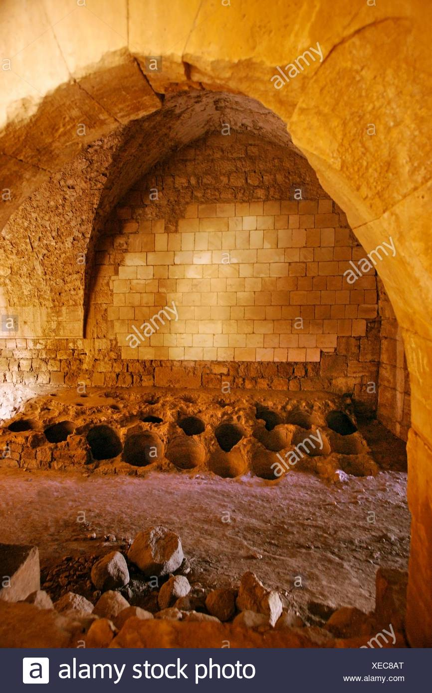 Room where the olive oil jars were preserved, Krak des Chevaliers, Syria - Stock Image