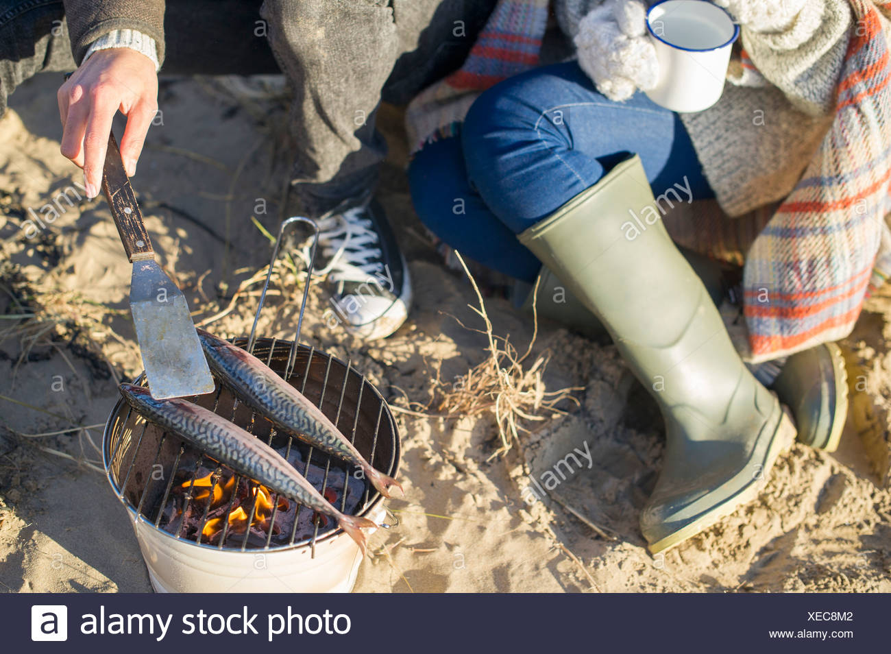 Cooking fish on the beach - Stock Image