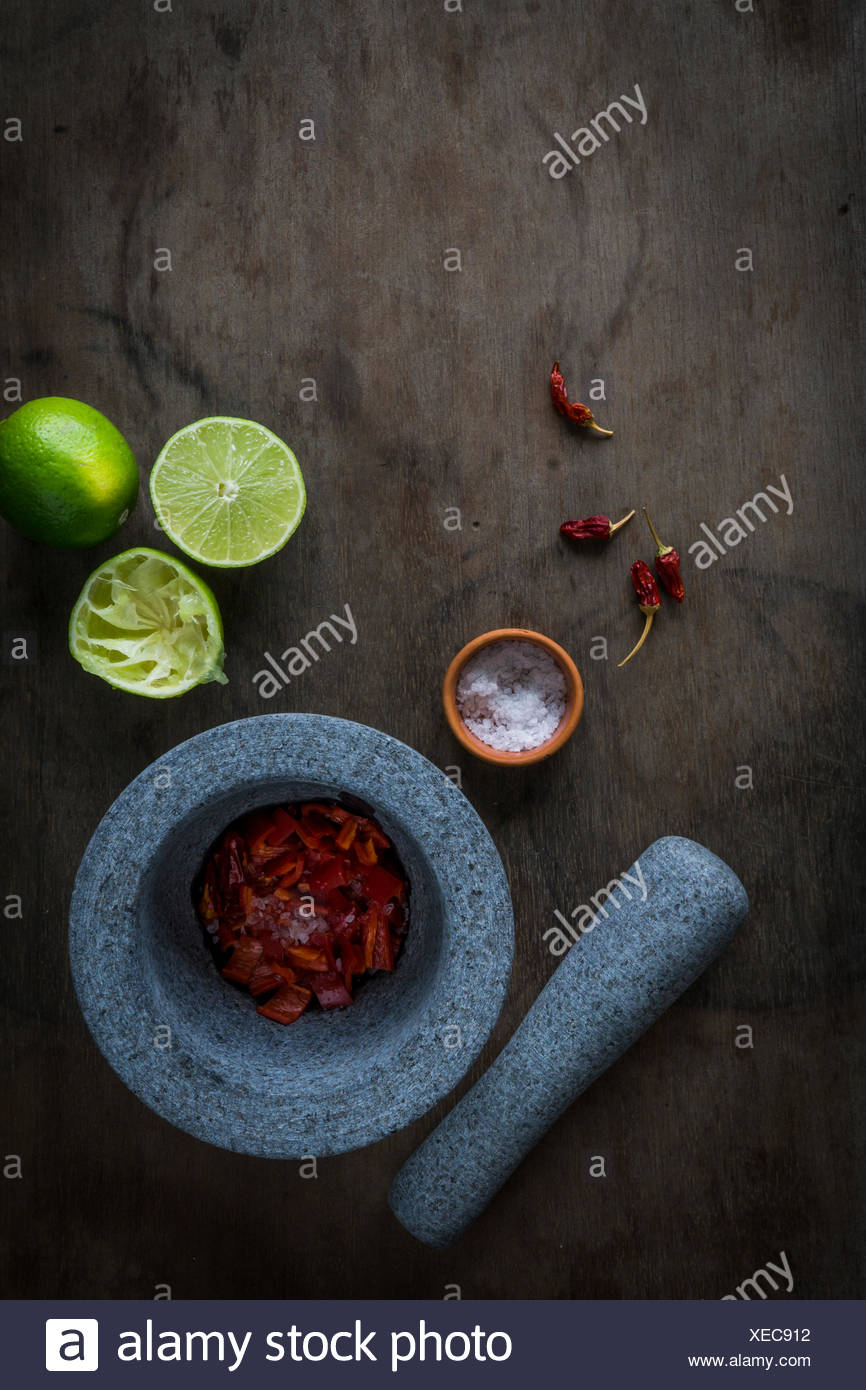 Mortar and pestle with ingredients for chili paste. Top view - Stock Image