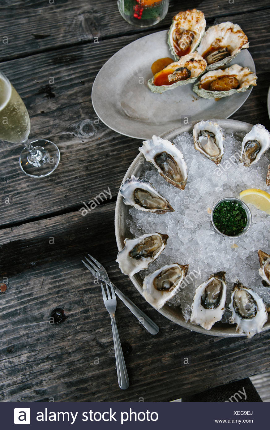Oysters, Tomales Bay, Marin County, California, USA - Stock Image