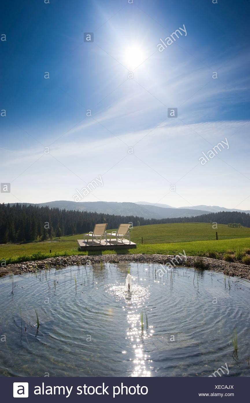 Swimming pool of Halde Hotel on Mt Schauinsland, Freiburg im Breisgau, Black Forest, Baden-Wuerttemberg, Germany, Europe - Stock Image