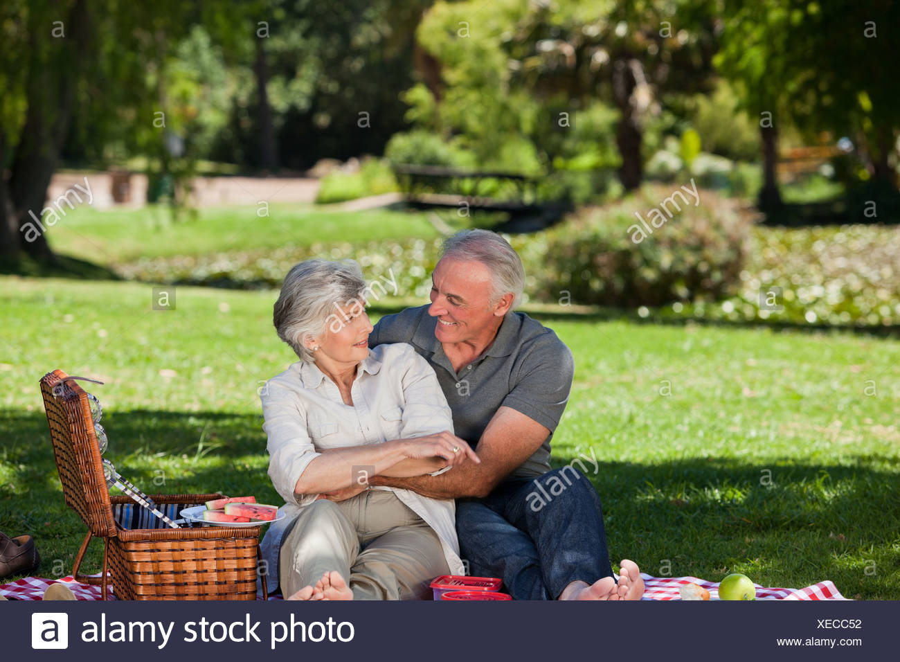 Mature couple  picnicking - Stock Image