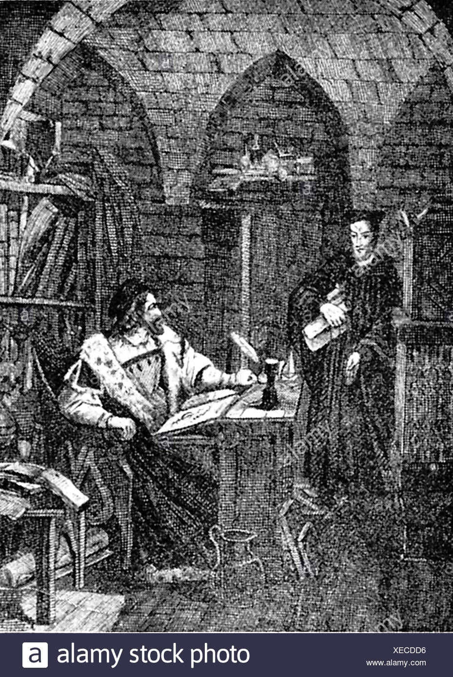 Faust, Johann Georg, 1480 - 1540, German magician, astrologer, mentalist, half length, in his study, print, Additional-Rights-Clearances-NA - Stock Image