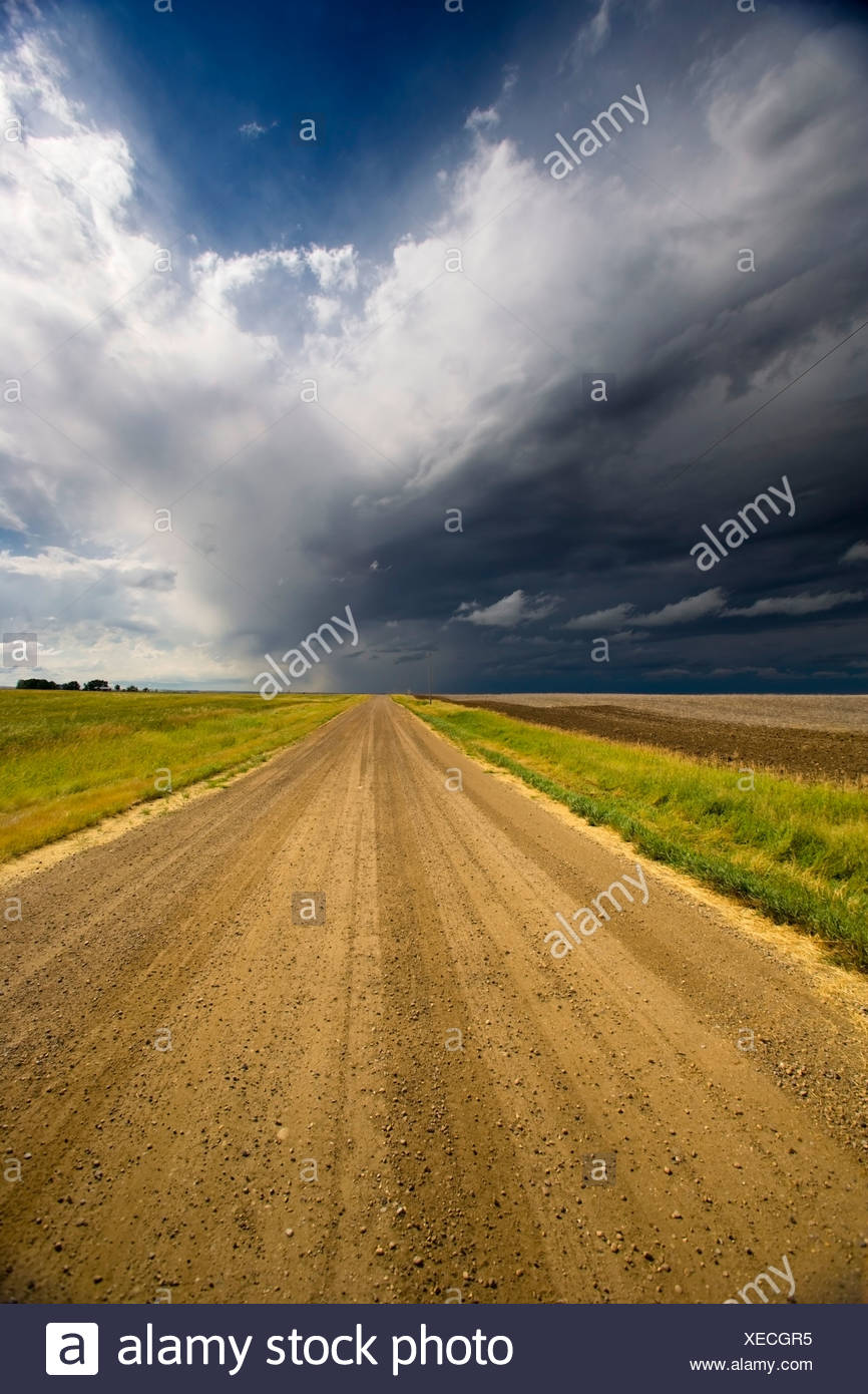 Thunder storm over road to Crowfoot Ferry, Alberta, Canada, cloud, weather - Stock Image