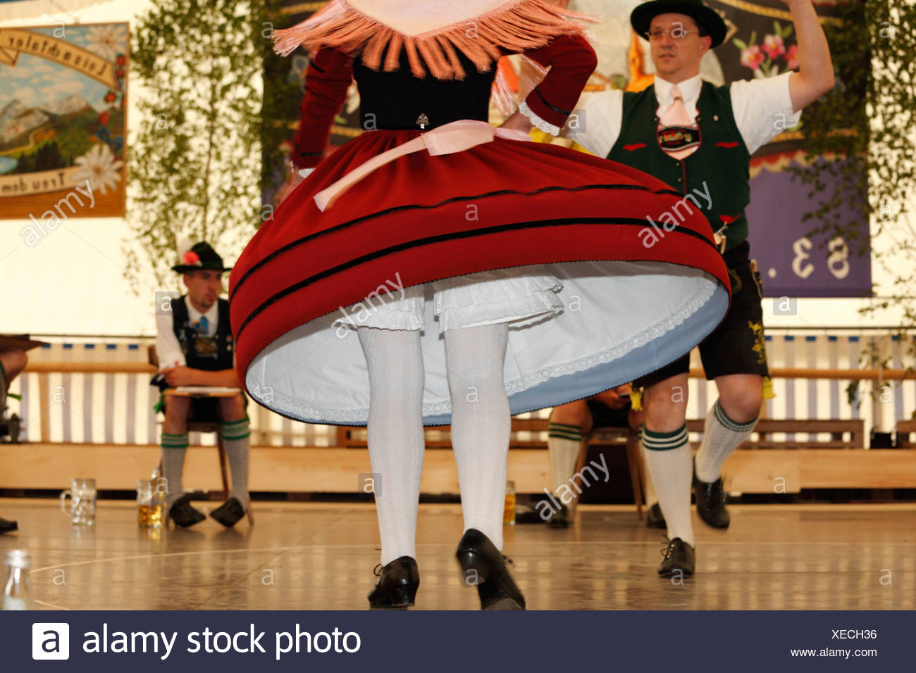 Schuhplattler, traditional folk dancers, 83rd Loisachgaufest in Neufahrn near Egling, Upper Bavaria, Bavaria, Germany, Europe Stock Photo